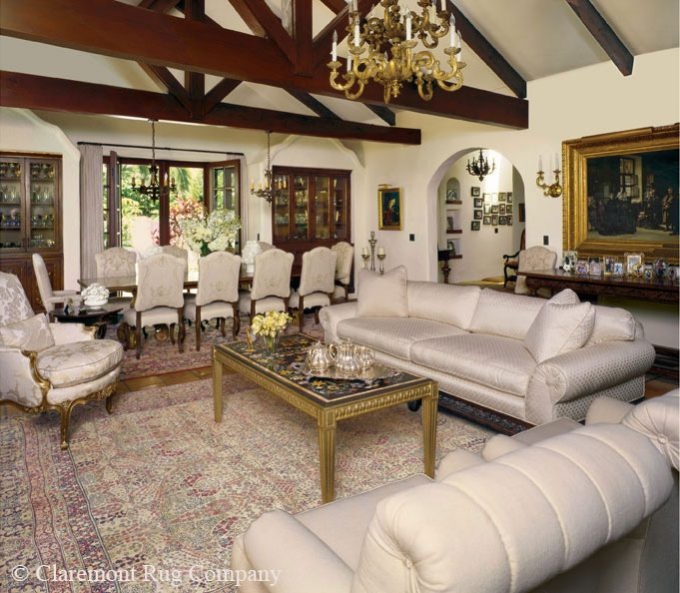 Collection of Persian Laver Kirman Antique Rugs in Los Angeles California Spanish Colonial Style Living room