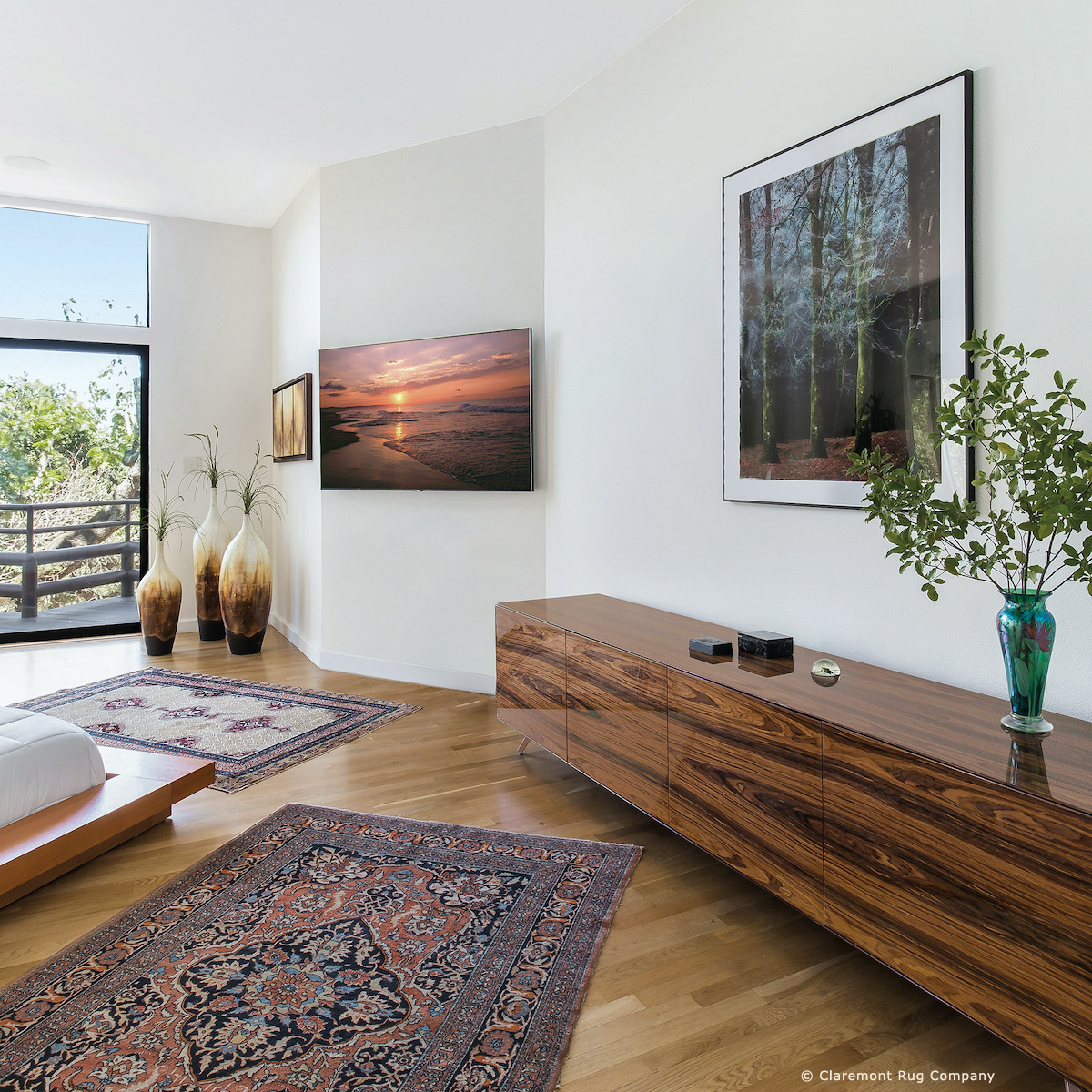 Laver kirman antique rugs in a contemporary family room