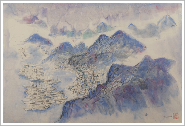 """Purple Hills"" by George Chann, watercolor on rice paper, circa 1965, Janet Chann collection"