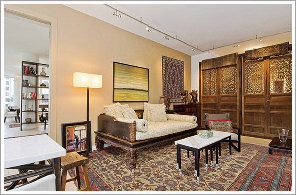 Art collector's antique Persian Bakshaish (floor) and Caucasian Khila Baku (wall)