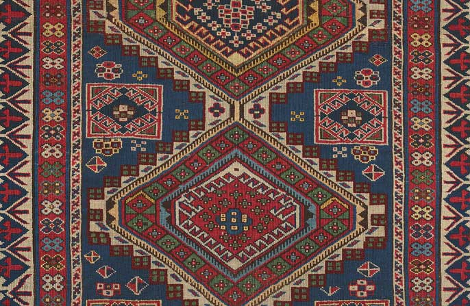 Detail of Caucasian Shirvan Rug