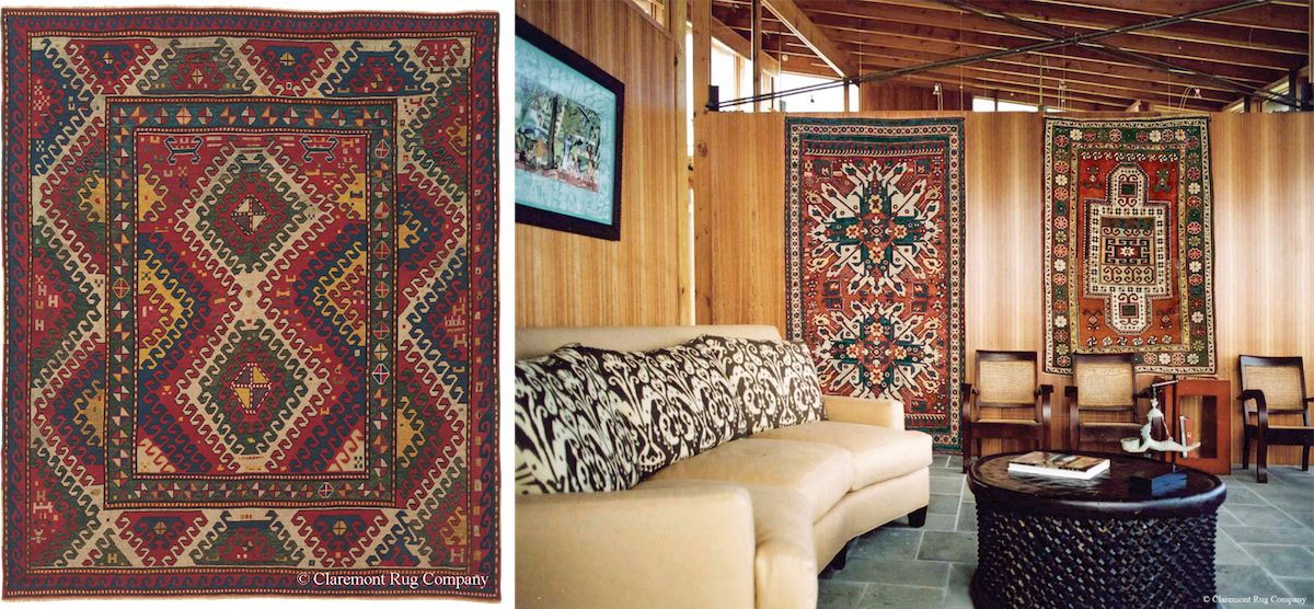 Collectors of various rug styles, including tribal rugs like this Caucasian Bordjalou Kazakexample from the late 19th century (above), often will display their pieces on the wall (below), as well as on the floor.