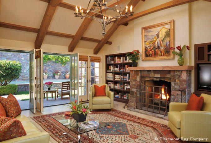 Luminous, Innovative Artistry of Exceptional Antique Bakshaish Carpet Profoundly Animates California Casual Home