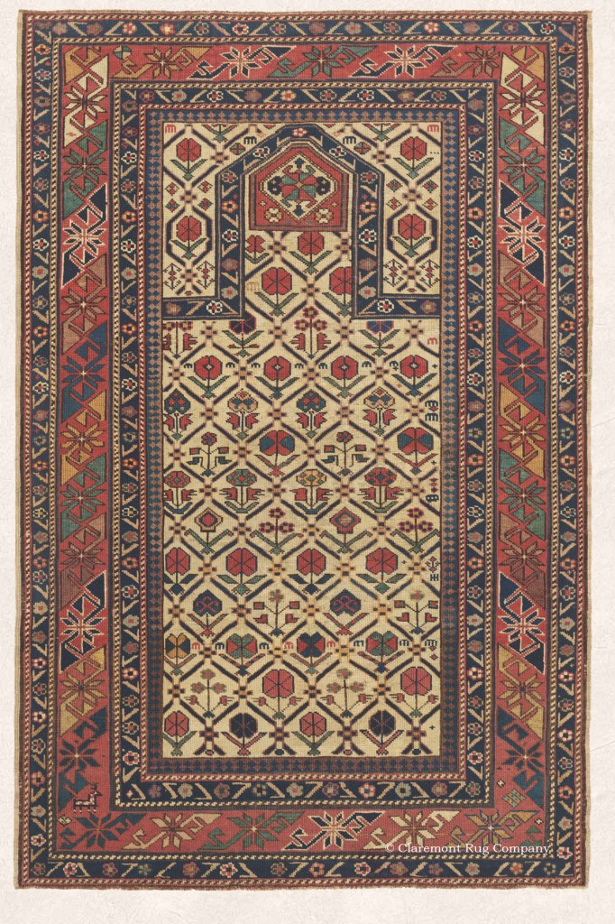 Daghestan Antique Carpet with Unique Mihrab