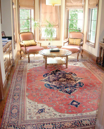 Antique Oriental rug in home offfice
