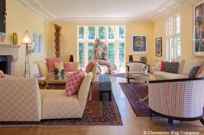 Vintage Persian Carpets Anchor Modern Artwork Stylish Furniture
