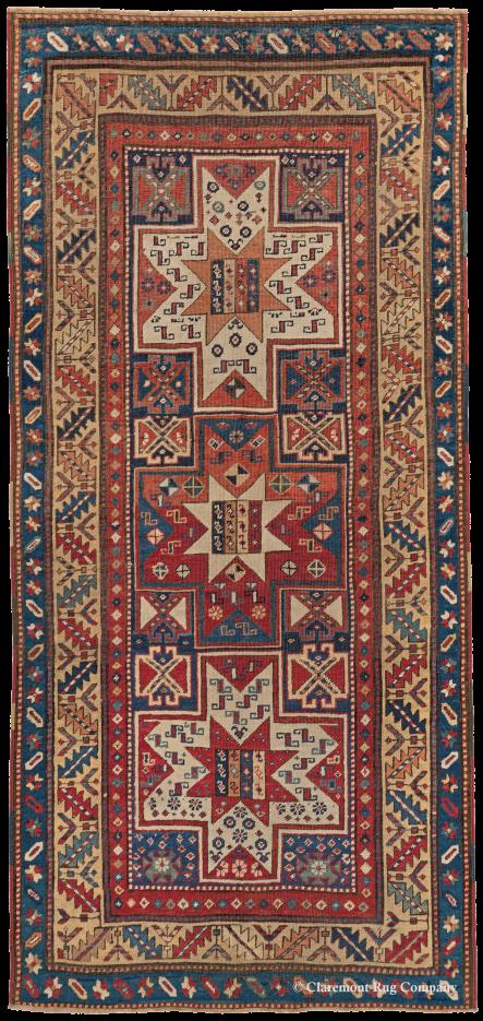 Antique Caucasian Oriental Collectible Gendje Rug 3ft 3in x 6ft 10 in