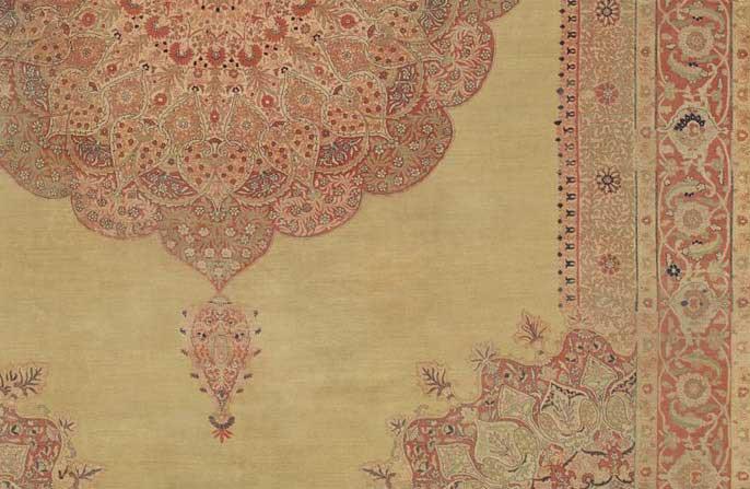Detail of Hadji Jalili Tabriz Rug