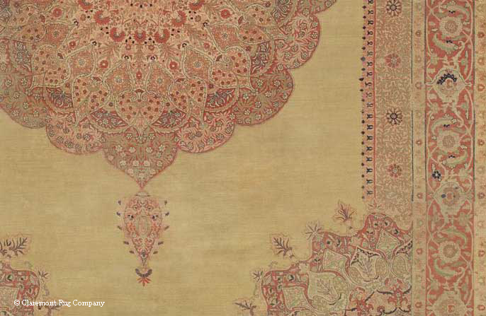 Detail of Stunning antique Hadji Jallili Tabriz rug