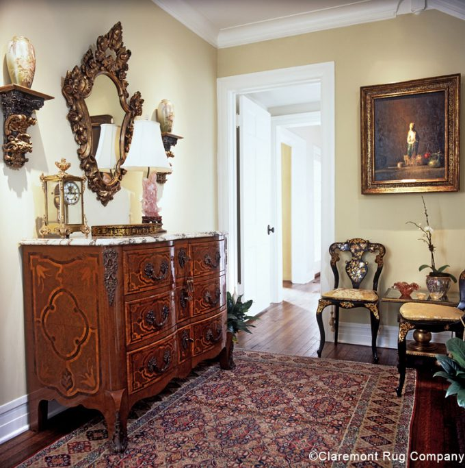 Clients home entry with Persian rug Dallas Texas