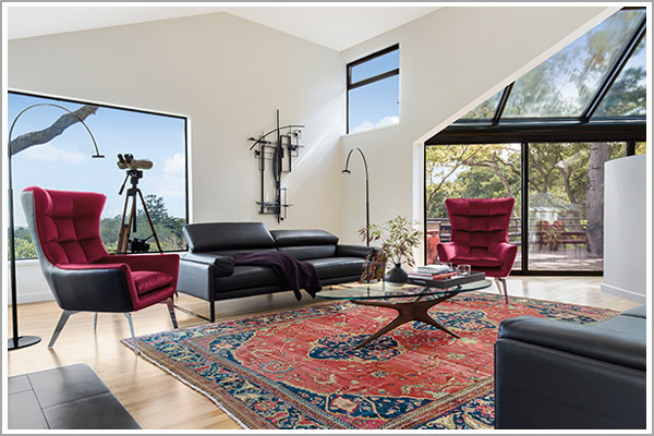 Modern architecture and furnishings, complements to the circa 1860 Ferahan Sarouk carpet