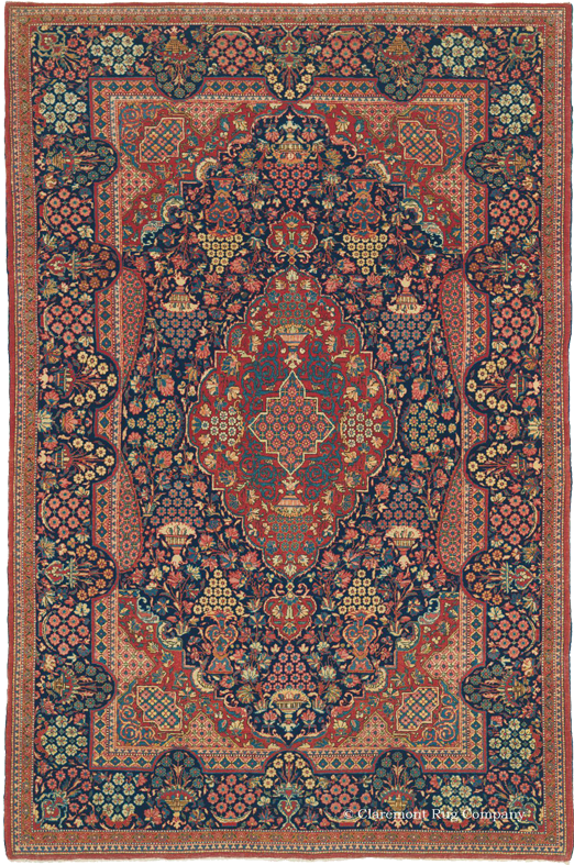 Click To Learn More About This Striking Central Persian Dabir Kashan Antique Rug
