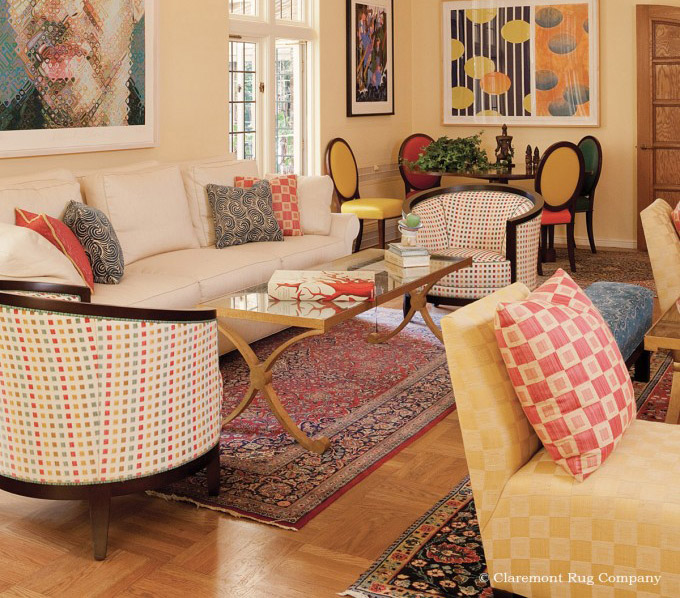 Click for a larger image of this Kashan rug in an elegant living room