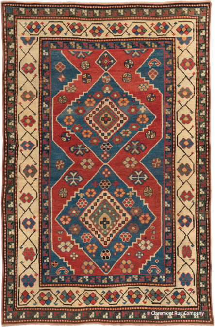 Antique Caucasian Kazak,  4ft by 6ft 2in, late 19th century