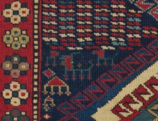details and motifs in Antique Caucasian Kazak Rug