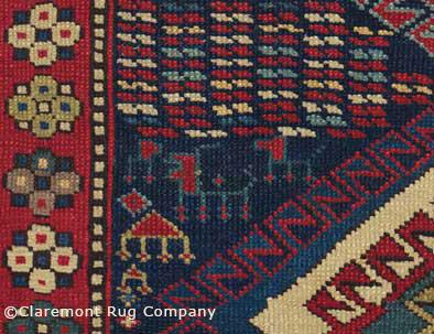 details and motifs in Antique Caucasian Kazak Rug