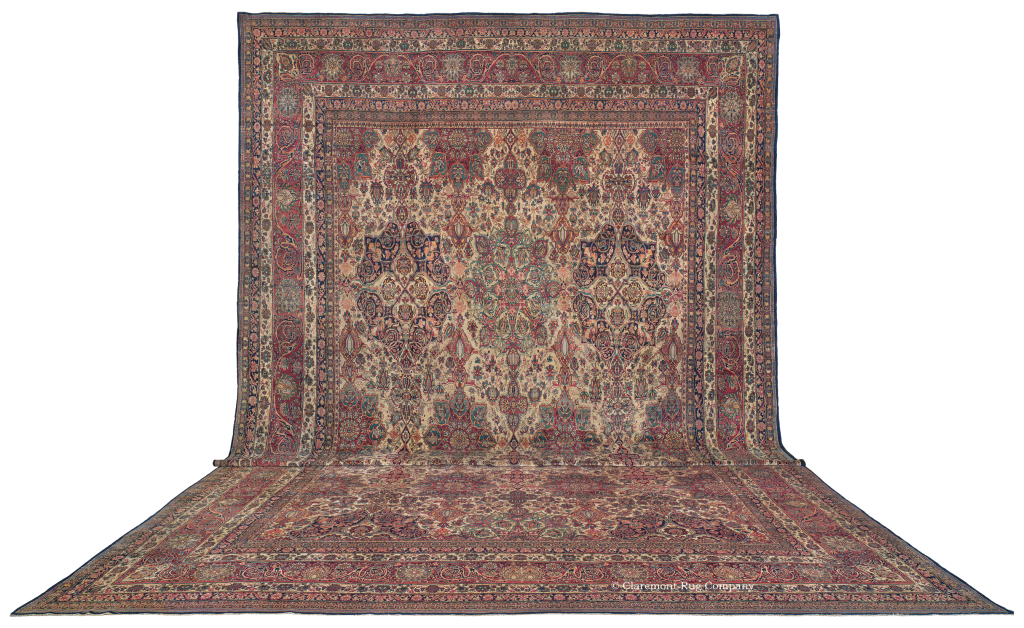 The 170-year-old palace-size (15x25) Persian Laver Kirman rug  likely took a team of 10 master weavers more than five years to complete, using over 15 million hand-woven knots