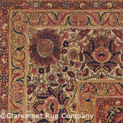 detail of the borders on a Kermanshah antique rug