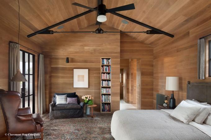 Laver Kirman Antique Rug in a Modern Master Bedroom