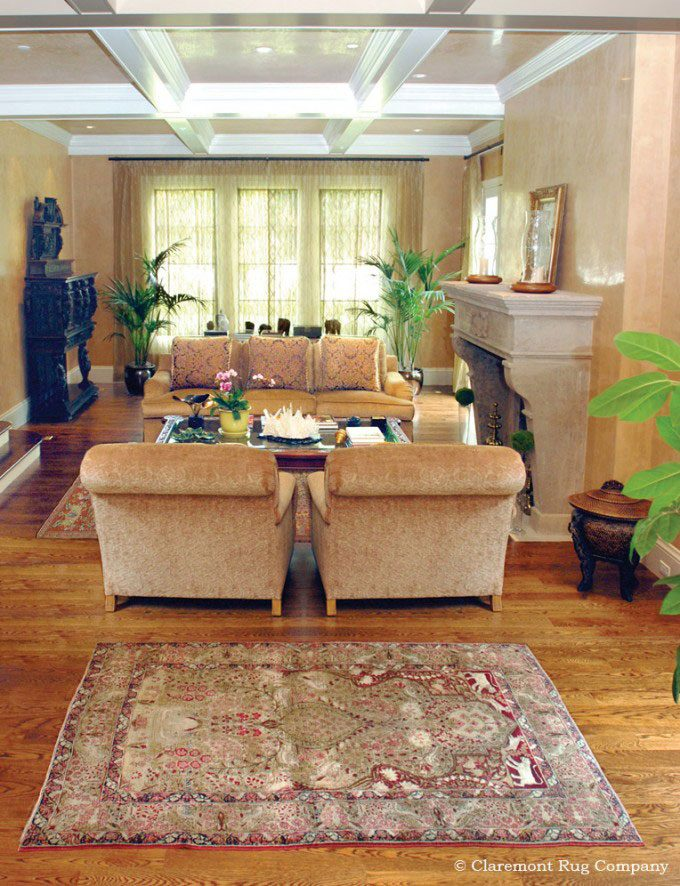 Laver Kirman Persian Antique Rugs Decorate traditional Living Room in Silicon Valley Home