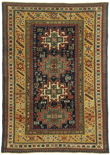 Antique Caucasian Lesghi, 3ft 11in x 5ft 6in, Circa 1875