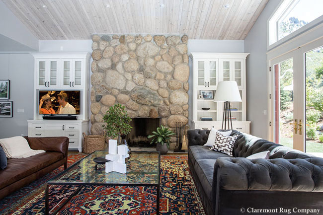 Antique Carpet in a craftsman inspired living room