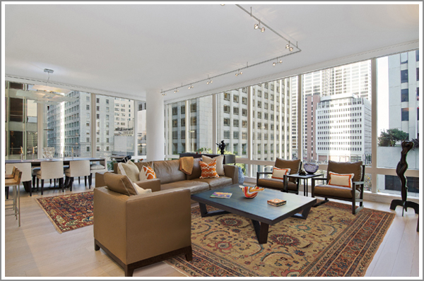 Art collector's condo with High-Collectible rugs throughout. View over 200 client rooms.