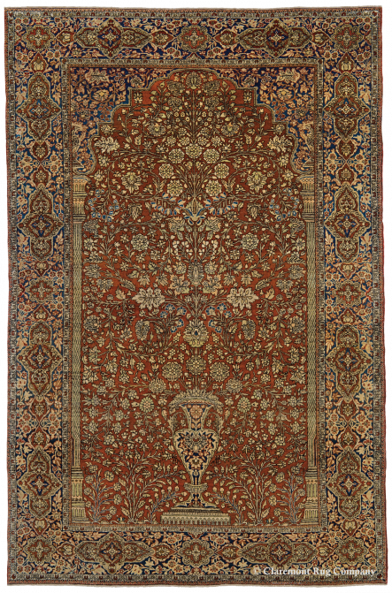 """Antique Persian Oriental Collectible Mohtasham Kashan """"Vase Rug"""" 4ft 3in x 6ft 6in"""