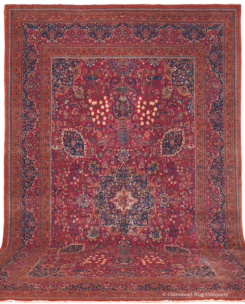 Click to learn more about this Northeast Persian Saber Meshed Antique Rug