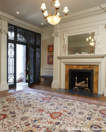Rare Ivory Sultanabad Rug in Mansion Foyer
