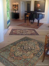A Quintet of Unique Area Size Antique Rugs Each Adds their Own Note to an Eclectic Music Room