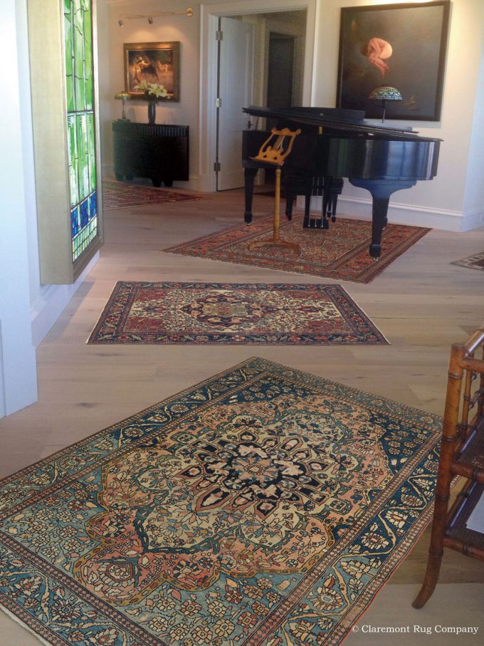 Mohtasham Kashan Persian Antique Rugs In Grand Traditional Miami Florida Music Room