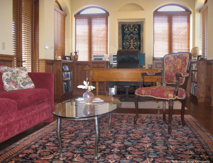 Persian Antique Carpets on Wall and Floor are Stunning in Home Office