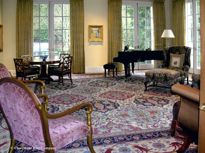 Oversized Doarsht Antique Persian Rug in a refined parlour room