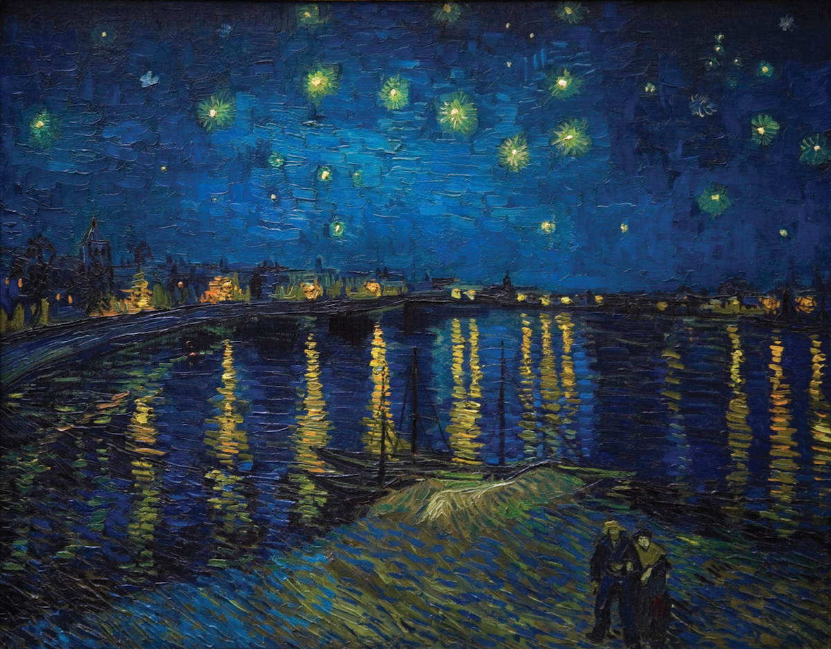 A Starry Night Over The Rhone Painting