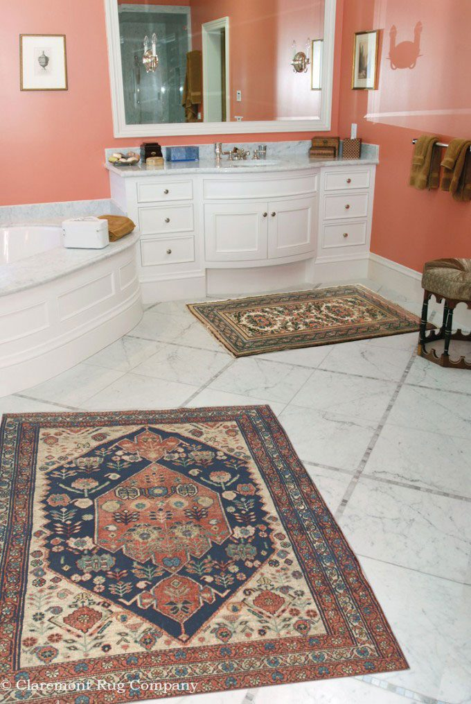Perisan-Malayer-Antique-Rugs-in-spa-Bathroom-of-traditional-Silicon-Valley-home
