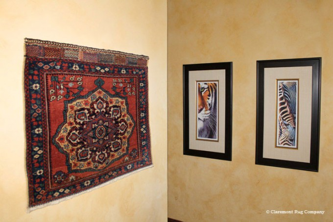 Antique Persian Afshar Bagface Hung on Wall