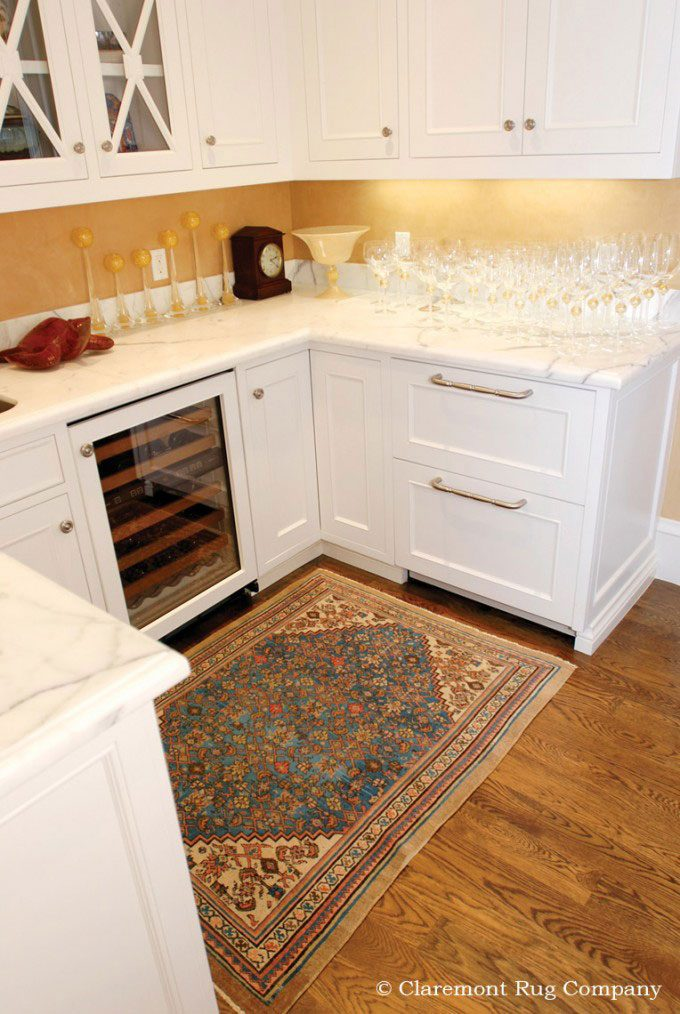 Persian Bakshaish Antique Rugs in Pantry in traditional Silicon Valley family home