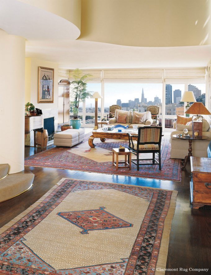 Persian Camelhair Carpets Antique Rugs in San Francisco Contemporary Decor living room