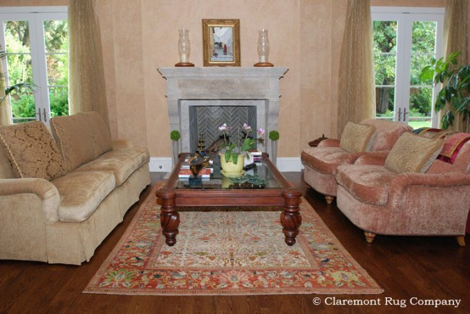 Persian-Ferahan-Antique-Rug-in-Tuscan-Livingroom-of-Silicon-Valley-home