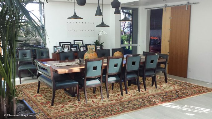 Persian Ivory Sultanabad Antique Rug in Contemporary Los Angeles California Dining room with Oriental Rug