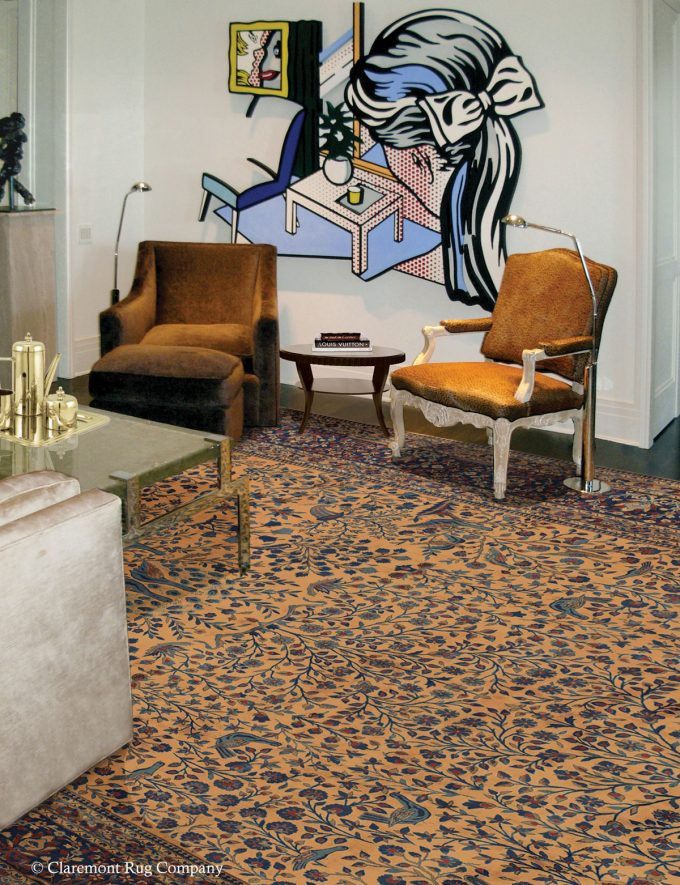Persian Kashan antique rug in contemporary Chicago living room with modern art