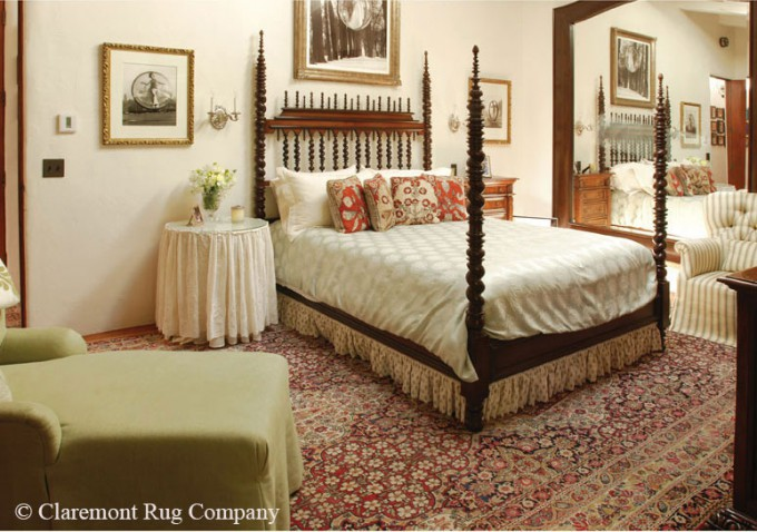 Laver Kirman Antique Rug in a charming bedroom