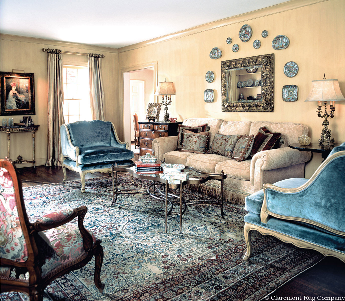 Miraculous Antique Persian Kerman Carpet Decorating A Traditional Home Interior And Landscaping Staixmapetitesourisinfo