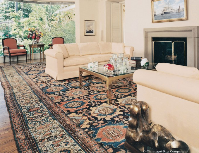 Malayer Oversize Persian Malayer Antique Carpet Unifies Large Living Room