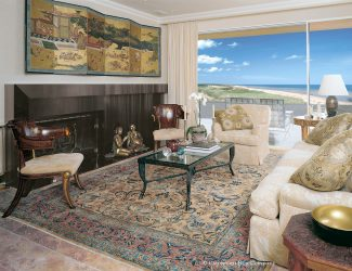 Persian Mohtasham Kashan antique rug in waterfront Miami Florida condo with asian inspired decor
