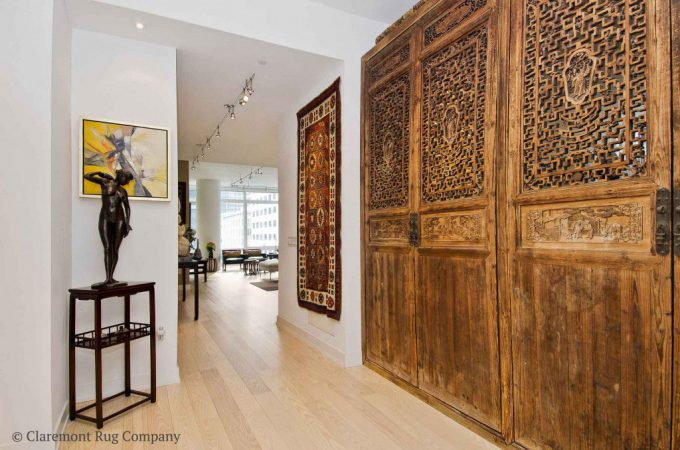 Antique Persian Rugs in San Francisco Contemporary Condo Hallway Talish Antique-Rug on wall