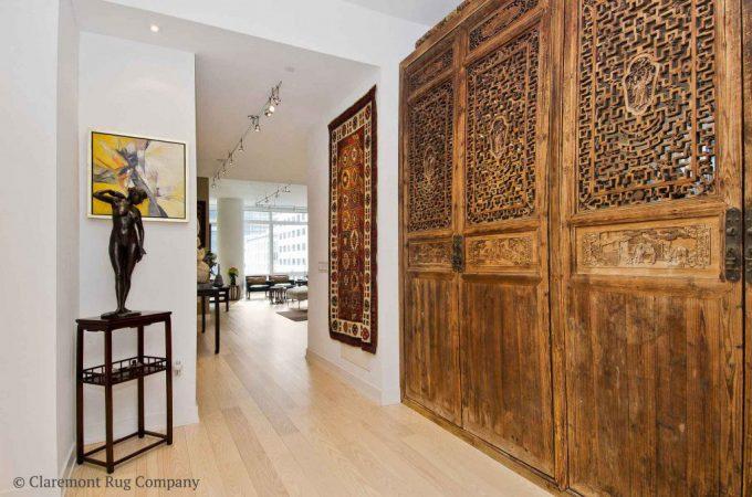 Persian-Rugs-in-San-Francisco-Contemporary-Condo-Hallway-Talish-Antique-Rug-on-wall.jpg