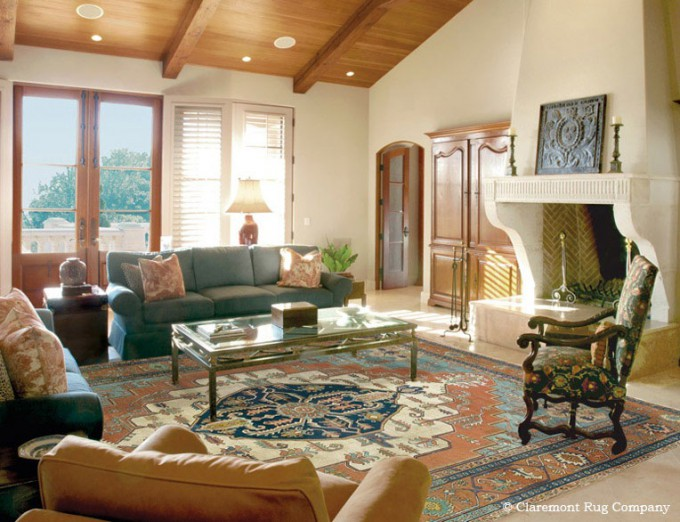 Persian Oriental Serapi Antique Rug in Contemporary Living Room
