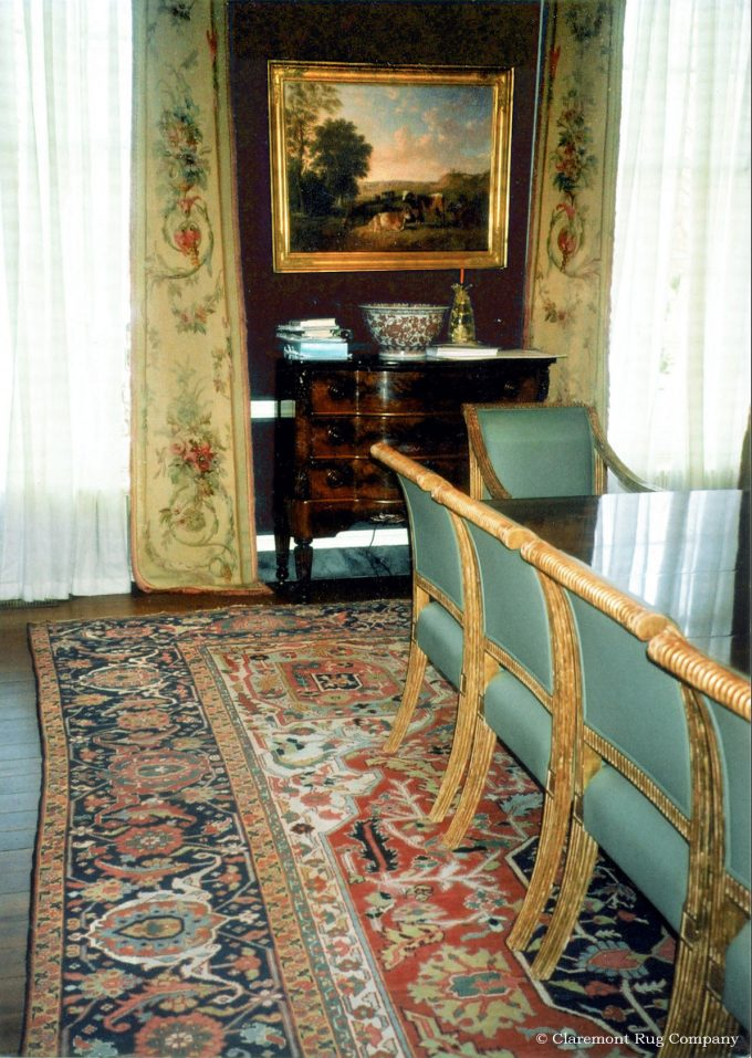 Persian Serapi Antique carpets in Washington D.C. historical dining room with Emprire furniture